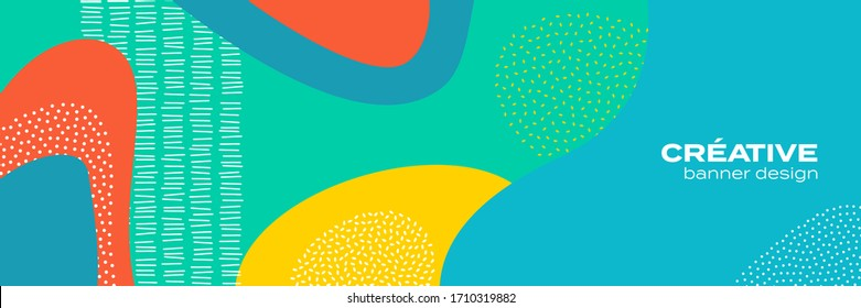 Abstract fun color pattern background, cartoon doodle geometric trendy shape texture. Vector liquid fluid colors pattern for brochure cover template background design
