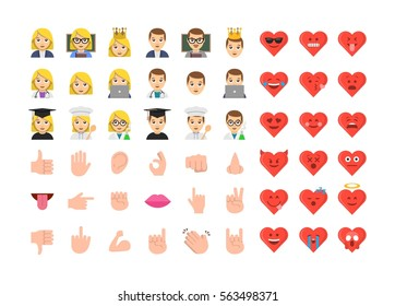 Abstract funny flat design people emoticon set. Simple style hand collection. Valentine's day emoji style illustrations.