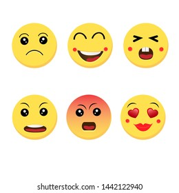 Abstract funny flat style emoji emoticon reactions color icon set.Vector illustration