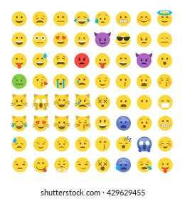 Abstract funny flat style emoji emoticon icon set