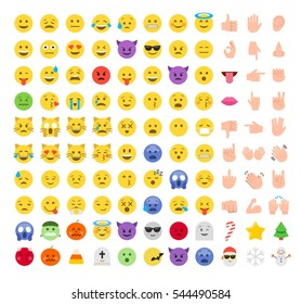 Abstract funny flat style emoji emoticon icon set. Christmas celebration icons: snowman, snowflake, christmas tree, star, candy, santa claus. Halloween emotions.