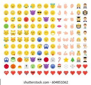 Abstract funny flat style emoticon set. Christmas celebration icons: snowman, snowflake, christmas tree, star, candy, santa claus. Halloween emotions.