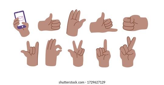 Abstract funny flat style hand drawn emoji emoticon set