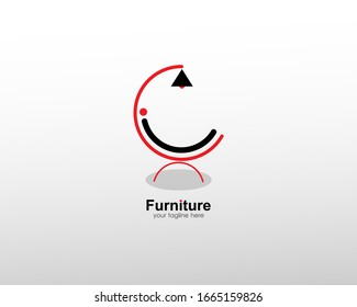 abstract furniture logo with art lines. modern templates. for company and graphic design. logo icon of chair, lamp, table, wardrobe.