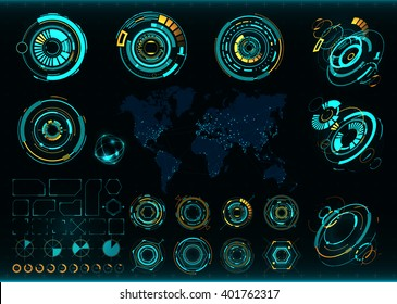 Abstract future, concept vector futuristic interface. Communications map of the world