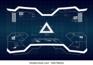 Abstract future, concept vector futuristic blue virtual graphic touch user interface HUD.   Futuristic HUD background. dashboard spacecraft. The sight is fantastic