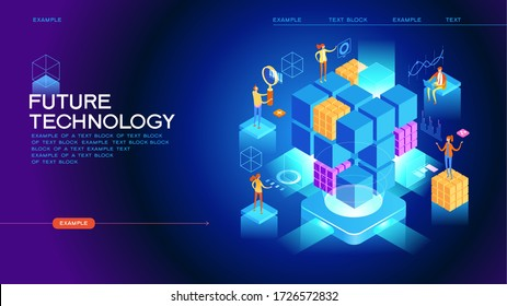 Abstract future high tech concept. Modern web technology. 3d isometric vector illustration. Page template.