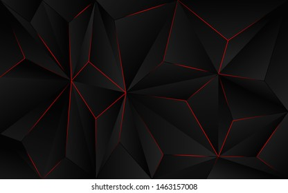 Abstract futuristic background black polygon vector design with red light line. Dark triangle composition technology modern concept for use element cover, banner, poster, web, brochure, flyer