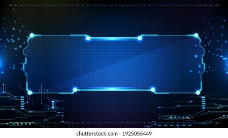 abstract futuristic background of blue glowing technology sci fi frame hud ui