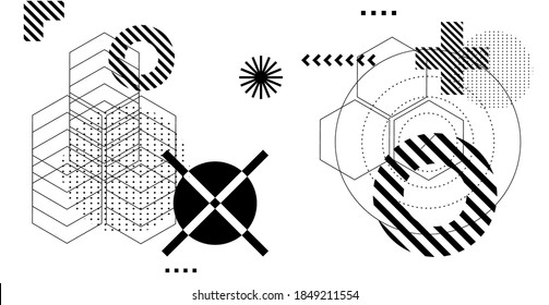 Abstract futuristic background with composition of geometric shapes and forms. Cyberpunk sci-fi style template for trendy modern bold poser and cover design.