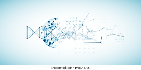 Abstrakter futuristischer Hintergrund für Design-Arbeiten. Wissenschaftsvorlage, Bildschirmhintergrund oder Banner mit DNA-Molekülen.