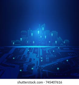 abstract futuristic background; digital building in a matrix style; technological city combined with electronic board