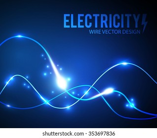 Abstract Futuristic Background. Electric Wire Design. Light Wave Effect. Vector illustration