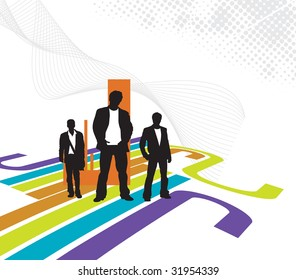 Abstract futuristic background with standing businessman . Vector illustration.