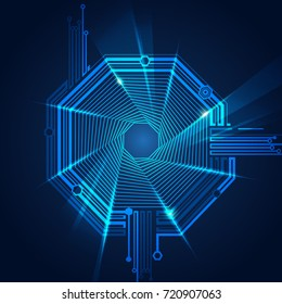 abstract futuristic background, technology abstract in octagon shape