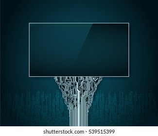 Abstract futuristic Billboard with a support in a printed circuit Board on the background of digital city
