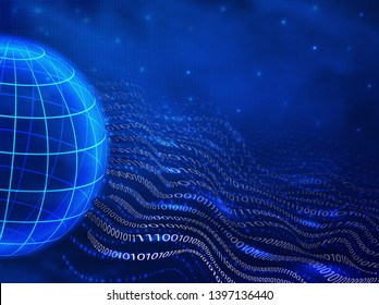 abstract futuristic binary 0 and 1 in the style of the waves and the earth on a blue background . the concept of the Internet, digital design, information transfer, programming in 3d style. vector gra
