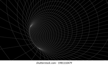 Abstract futuristic black hole tunnel. Vector digital perspective grid texture background. Vector illustration.