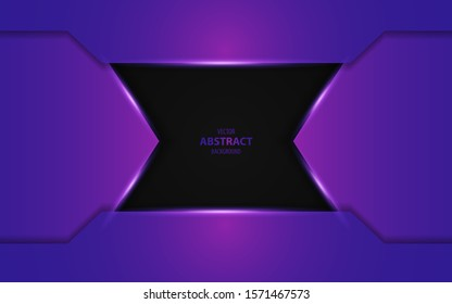 Abstract futuristic blue purple overlapping layers on black background. Vector design template for use modern cover, technology banner, business advertising, card corporate, wallpaper, brochure
