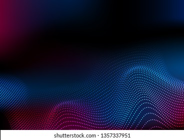 Abstract futuristic blue and purple wavy dotted lines background. Vector design