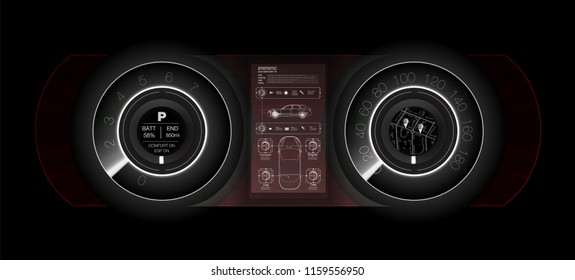 Abstract futuristic car dashboard in white, the concept of the future car dashboard. Vector illustration.
