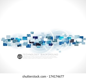 Abstract futuristic circuit technology background and space for text, vector illustration