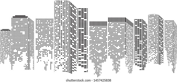 Abstract Futuristic City. Cityscape buildings made up with dots, Digital Transparent city landscape. Vector illustration.