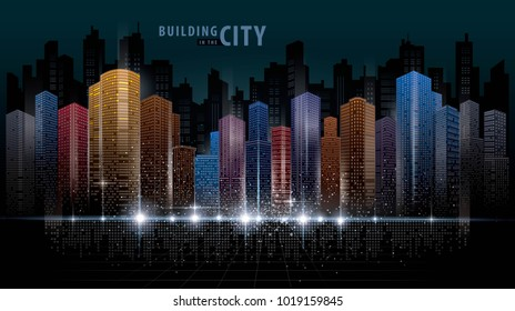 Abstract Futuristic City vector, Digital Cityscape background. transparent city landscape, Dots Building in the night City, sci-fi, skyline Perspective, Architecture vector Colorful.
