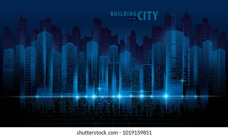 Futuristic Building Night Stock Illustrations Images Vectors