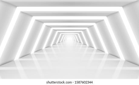 Abstract Futuristic Corridor Light Interior. EPS10 Vector