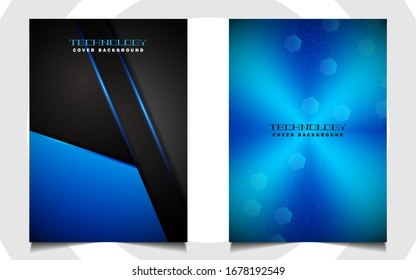 Abstract futuristic cover background template with blue technology style on black shapes. Modern layout   vector design can use poster, leaflet, presentation business for sport, gamer, tech concept