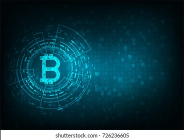 Abstract futuristic digital money with logo bitcoin digital currency on blue background, , technology worldwide network concept.