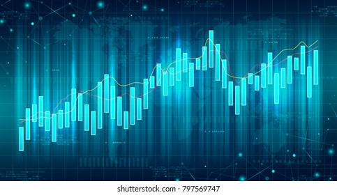 Abstract Futuristic Financial Chart. Concept of Digital Stock Market Trading. Vector Illustration. Abstract Background with Technology Business Diagram.
