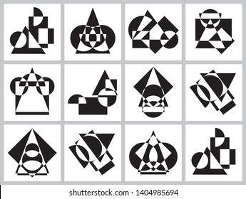 Abstract futuristic geometric figures, shapes of symmetry and asymmetry. Set of black and white pattern backgrounds.
