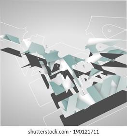 Abstract futuristic geometric shapes, dynamic illustration.