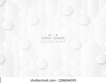 Abstract futuristic gradient white pattern technology background, vector eps10