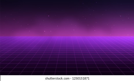 Abstract futuristic grid landscape 1980s style. Vector illustration 80s party background . 80s Retro Sci-Fi background.