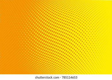 Abstract futuristic halftone pattern. Comic background. Dotted backdrop with circles, dots, point large scale. Design element for web banners, posters, cards, wallpapers, sites. Yellow, orange color
