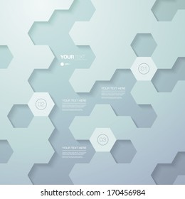 Abstract futuristic hexagon shape infographic design template for your business presentation with text and numbers  Eps 10 vector illustration
