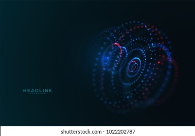 Abstract futuristic HUD 3D object. Hi tech hologram interface consist of fractal glowing particles. Nanotechnology  radar software display. Vector science and technology illustration .