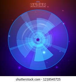 Abstract futuristic HUD radar display. Sci-fi design elements. Vector navigation interface background.