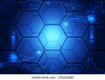 Abstract futuristic interface HUD technology background. Illustration Vector