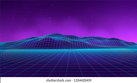 Abstract futuristic landscape 1980s style. Vector illustration 80s party background . 80s Retro Sci-Fi background.