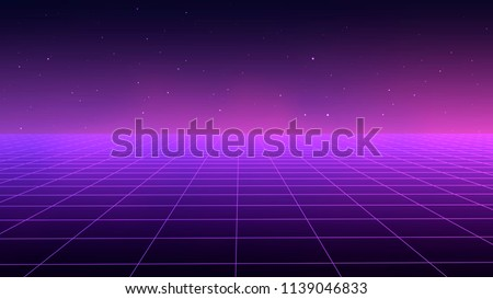 Abstract Futuristic Landscape 1980 S Style Vector Stock