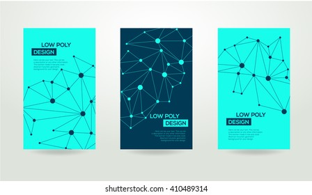 Abstract futuristic low poly background with connecting dots and lines. Connection structure. Vector science polygonal design.