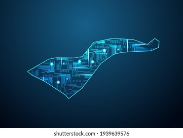 Abstract futuristic map of american Samoa.Circuit Board Design Electric of the region. Technology background. mash line and point scales on dark with map.