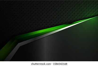 Abstract futuristic metallic green and black shapes innovation technology background concept. Vector design template for use element sport cover, game banner, automotive wallpaper, cyber theme
