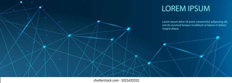 Abstract futuristic - Molecules technology with polygonal shapes on dark blue background. Illustration Vector design digital technology concept. Banner.
