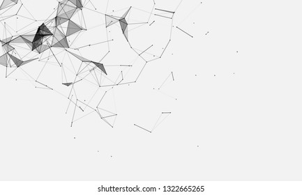 Abstract futuristic - Molecules technology with polygonal shapes on dark blue background. Illustration Vector design digital technology concept. - Vector
