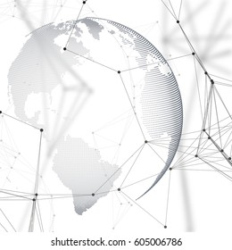 Abstract futuristic network shapes. High tech background, connecting lines and dots, polygonal linear texture. World globe on white. Global network connections, geometric design, dig data concept.
